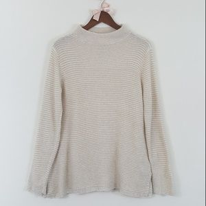 Old Navy Wool Blend Cream & White Stripe Sweater M